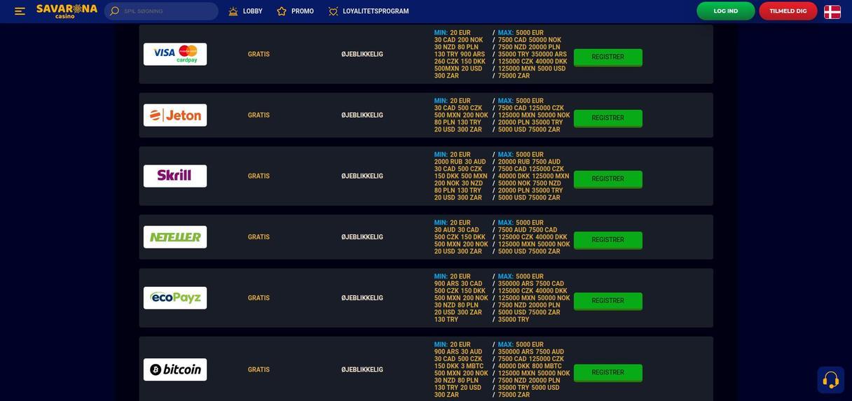 Savarona casino Indbetaling og udbetaling