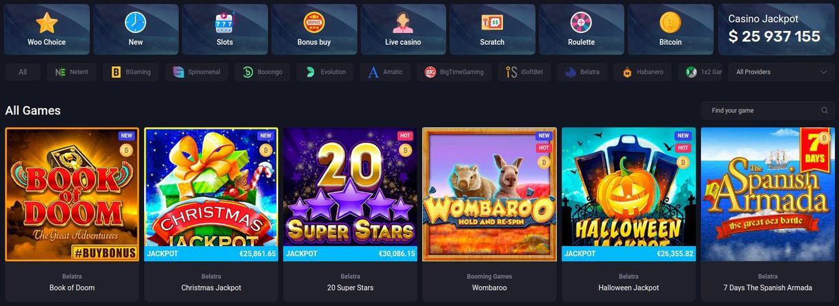 Woo Casino udvalg af spil