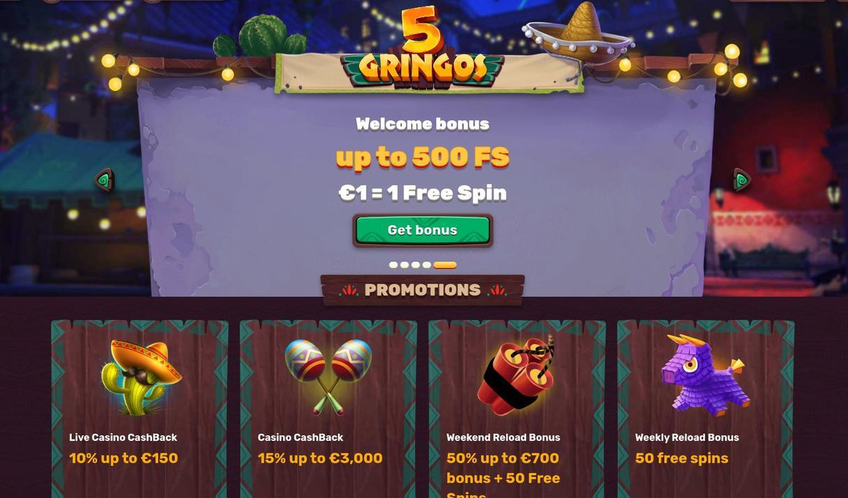 5 Gringos Bonus og kampagner