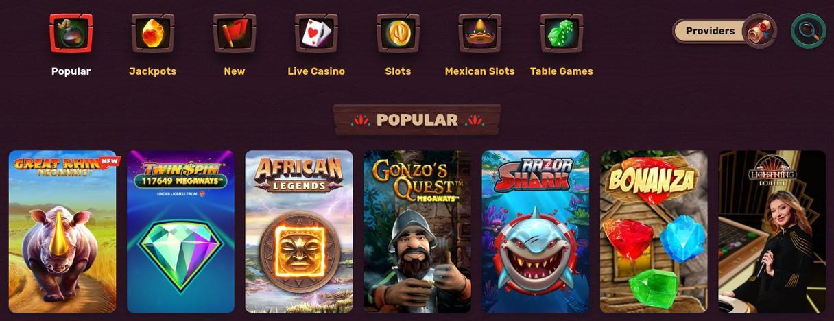 5 Gringos Casino Spiludvalg