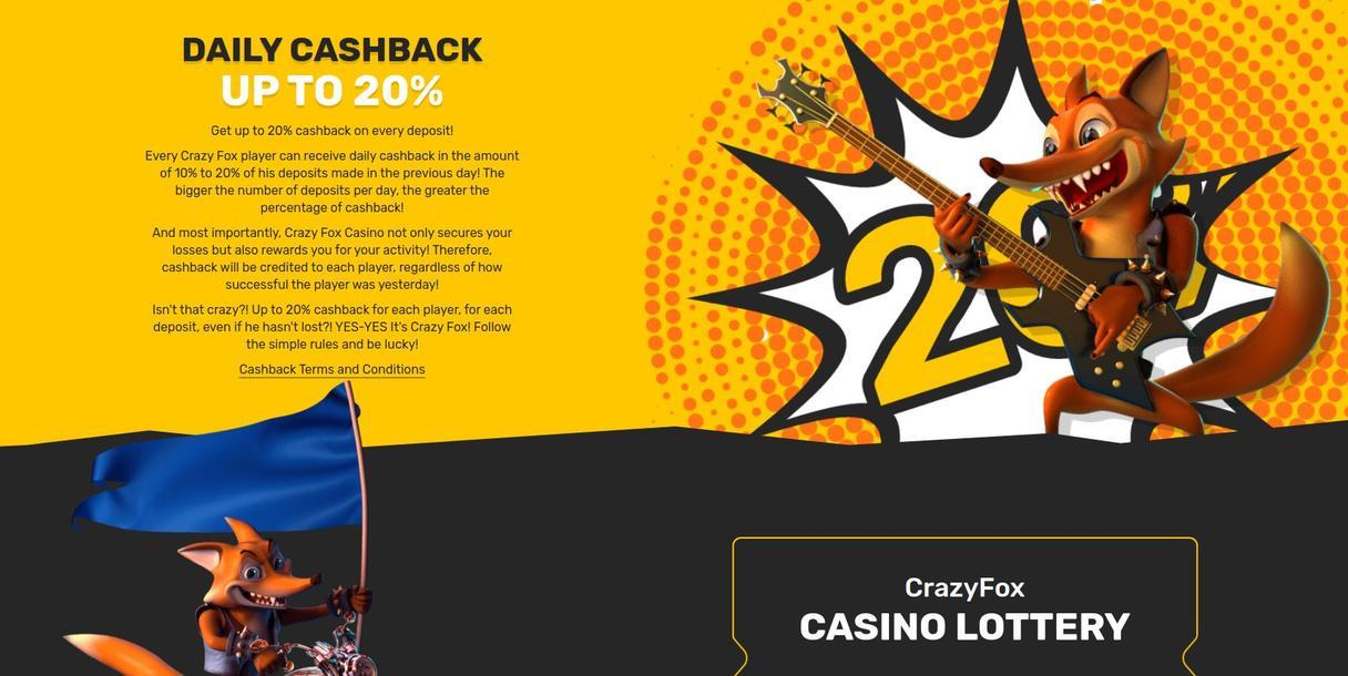 Crazy Fox Casino cashback bonus