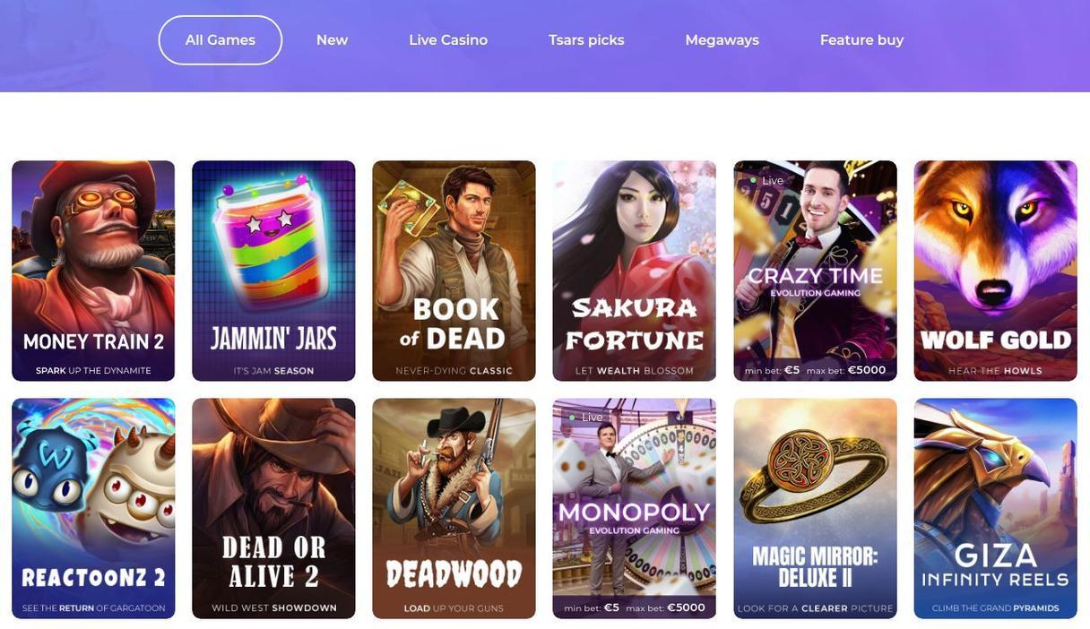 Tsars Casino Spiludvalg