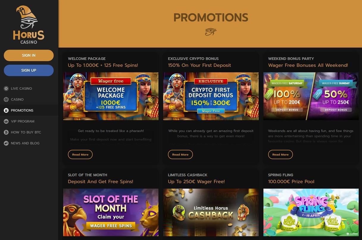 Horus Casino start bonus