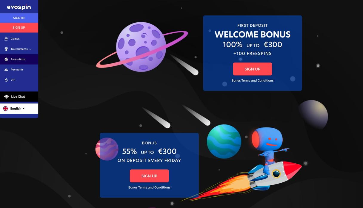 Evospin Casino bonus